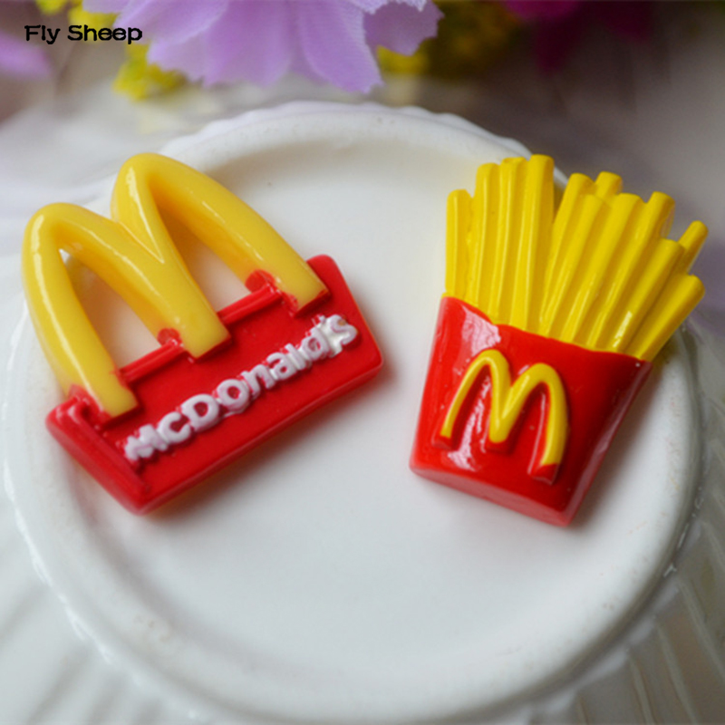 Creative Resin Stick Badge Material MCD Fries Logo Flat Back Cabochon DIY Art Craft Decoration Accessories Jewelry Making