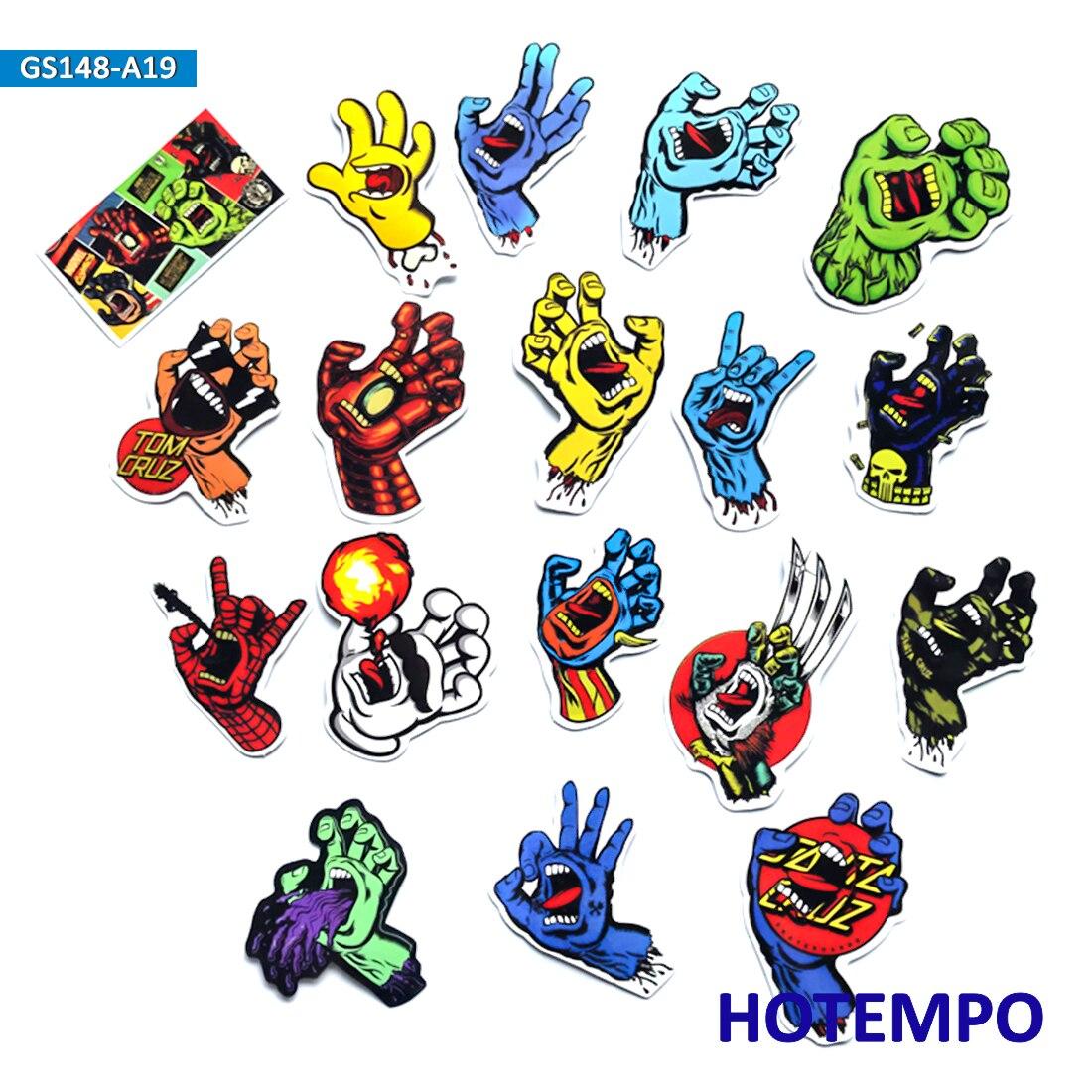 18pcs Santa Cruz Super Hero Screaming Hand Style Stickers For Mobile Phone Laptop Luggage Skateboard Fixed Gear Bike Stickers