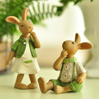 Miz Set Creative Rabbit Family Resin Home Decor Gift for Friend Garden Home Decoration Resin Crafts