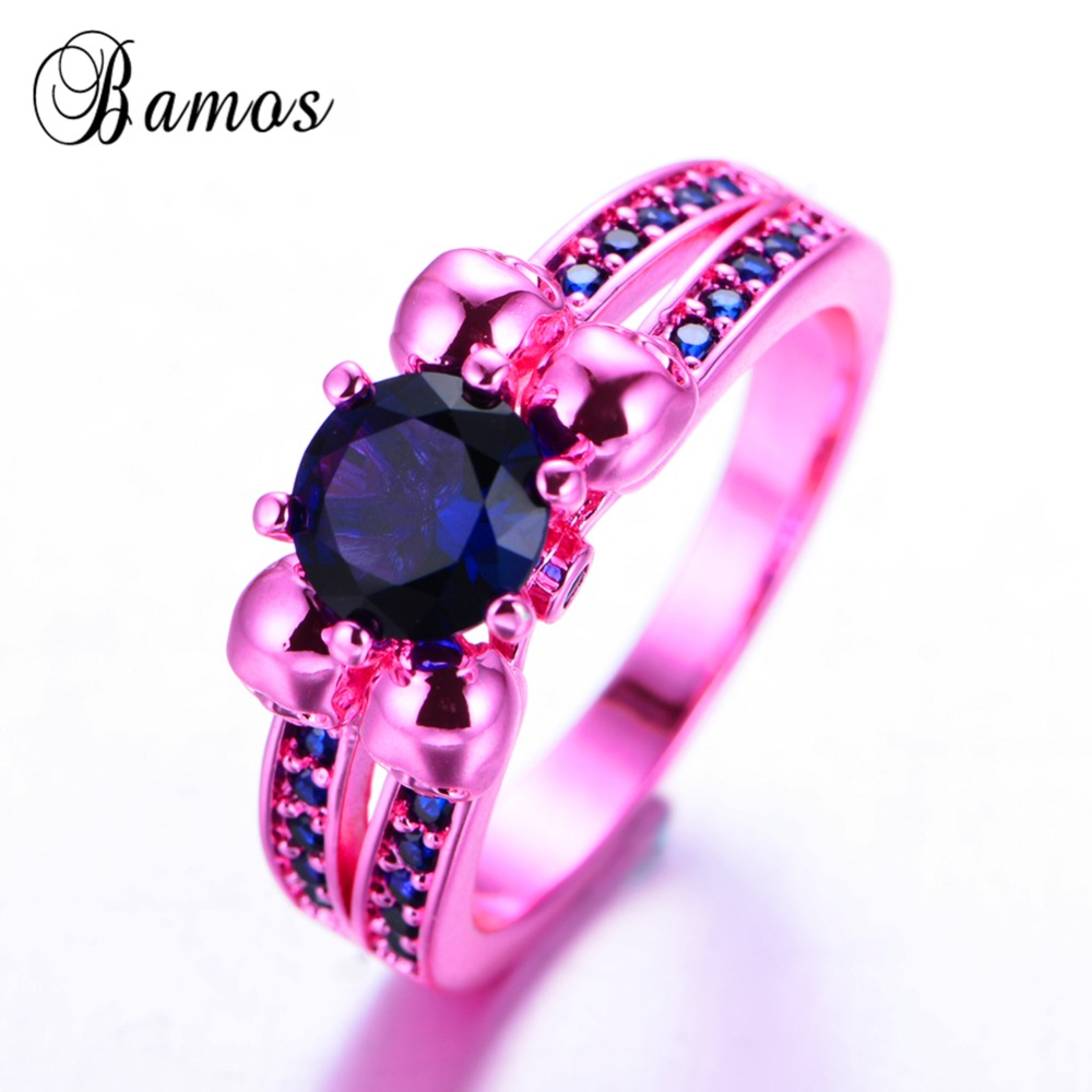 Bamos Vintage Four Skull Rings For Women Round AAA Zircon Pink Gold ...