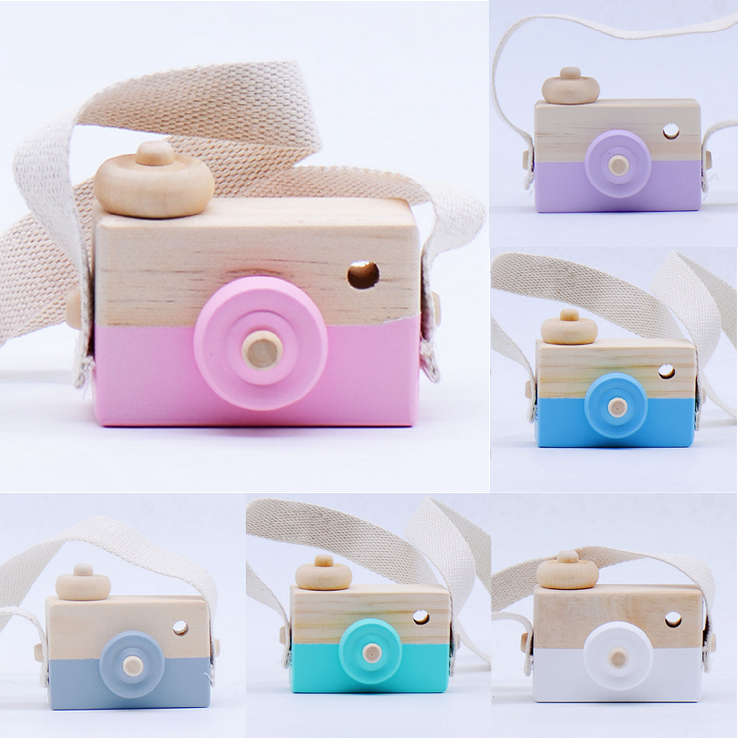 Kids Cute Mini Natural Wooden Camera Toy Photography Props Hanging Camera Toys Baby Educational Toy Birthday Christmas Gifts