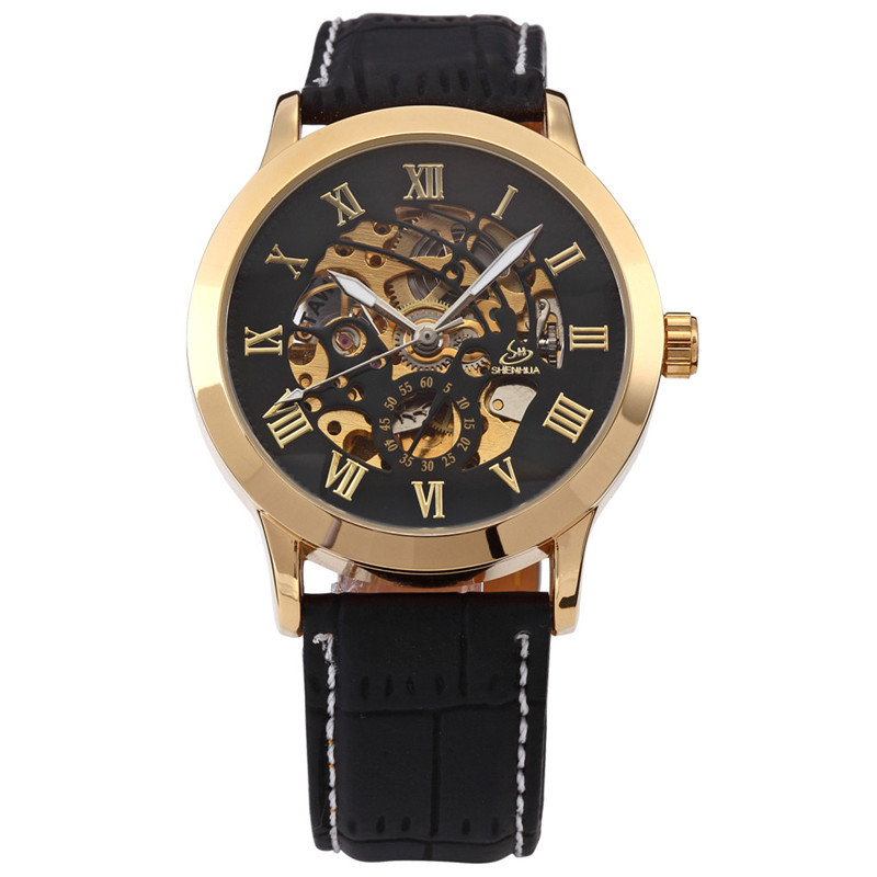 SHENHUA 9269 Skeleton Black Gold Engraving Clock Men Leather Strap Mens Watches Top Brand Luxury Automatic Watch Montre Homme mother of god the inexhaustible cup 3d model for cnc stl format religion 3d relief model stl router 3 axis engraver artcam