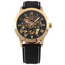 Shenhua 9269 Скелет Черное золото гравировка часы Для мужчин кожаный ремешок Для мужчин S Часы лучший бренд класса люкс автоматические часы Montre Homme
