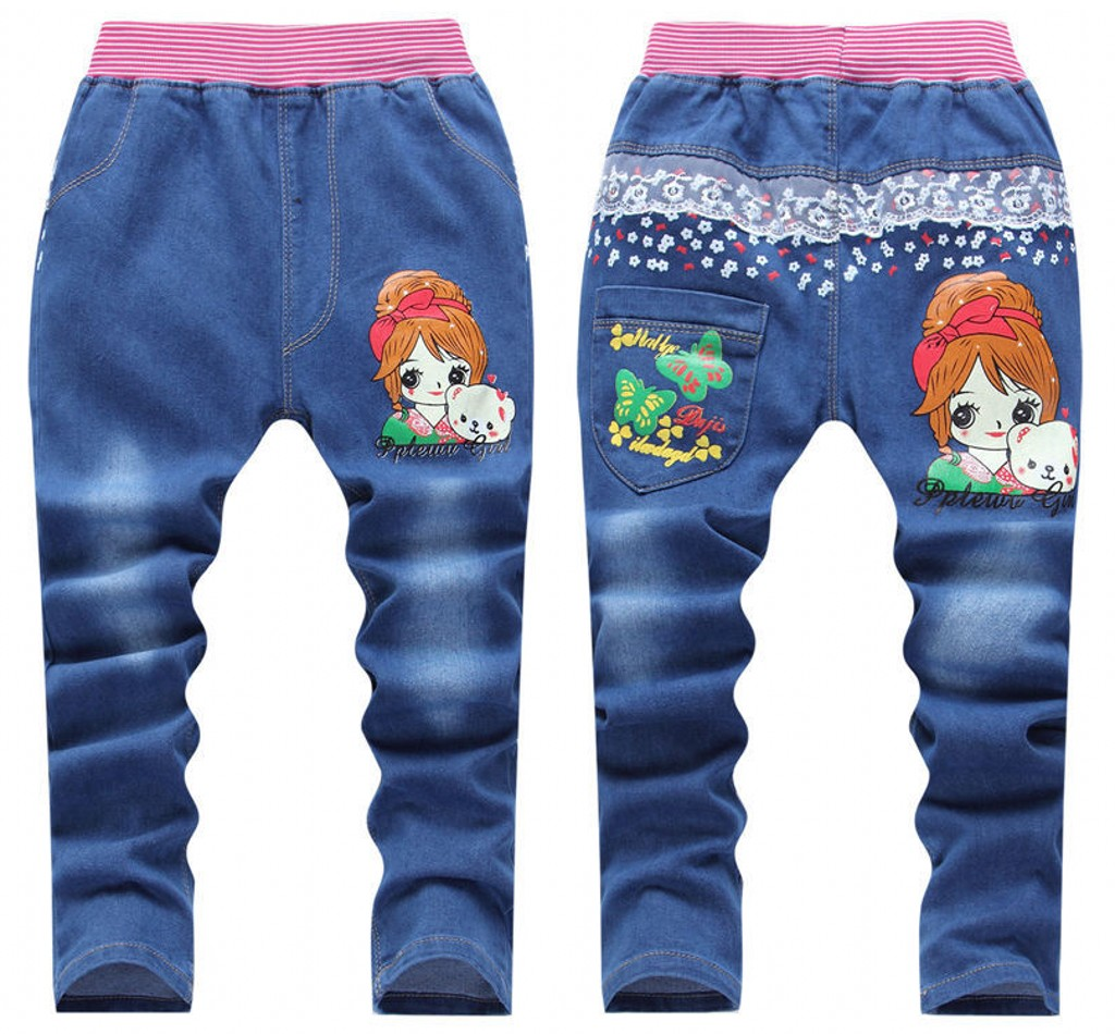 1PCS New Arrivals Kids Jeans Pants 2016 Autumn Fashion Totem Printed Children Denim Pants Baby Boys Girls Trousers 2-7Y