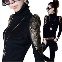 Autumn Winter Tops Hot Fashion Women Slim Bodysuit Elegant Ladies Patchwork Gold Lace Black Knitted Pullover Turtleneck Sweater