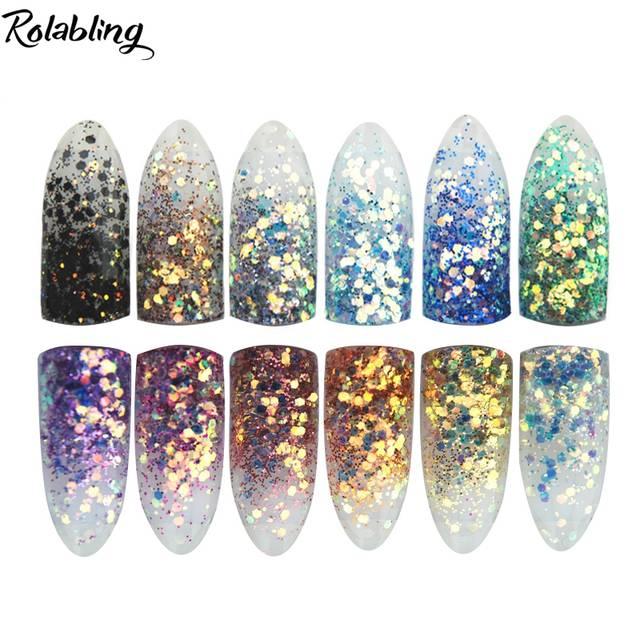 New High Gloss Nail Powder Metal Big Hexagon Strip Glitter Nail Art Glitter  Dust For UV c6704b859b30