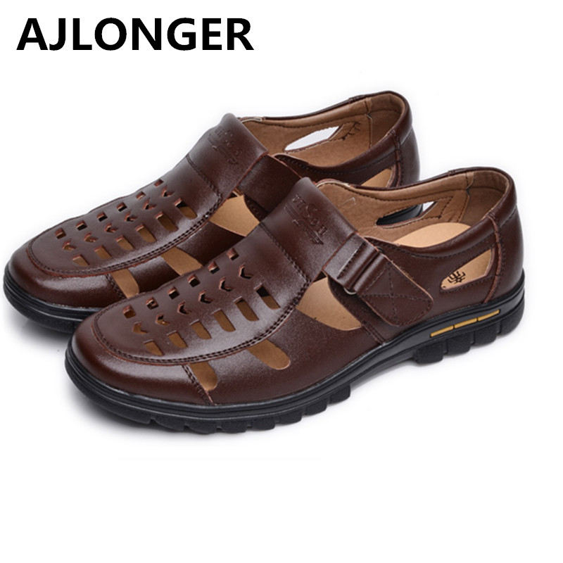 Casual summer male leather sandals hole cutout shoes man leather sandals cool leather shoes