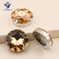 YANUO 1201 Rivoli 27mm Light Peach Sew On Claw Rhinestones Sewing Accessories Dress Glass Stones For Crystal Applique