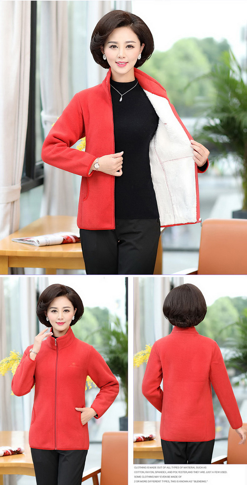 Women Fleece Coat Stand Collar Outerwear Autumn Winter Woman Imitation Lambs Polar Fleece Jacket Warm Lightweight Coat Woman (7)