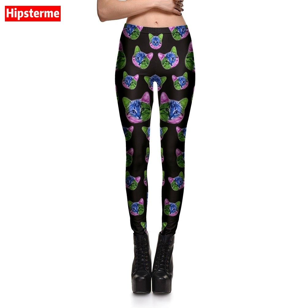 Hipsterme New Fashion Women leggings Sexy Fitness Black Trousers Cat Printed gothic leggins for Woman pants