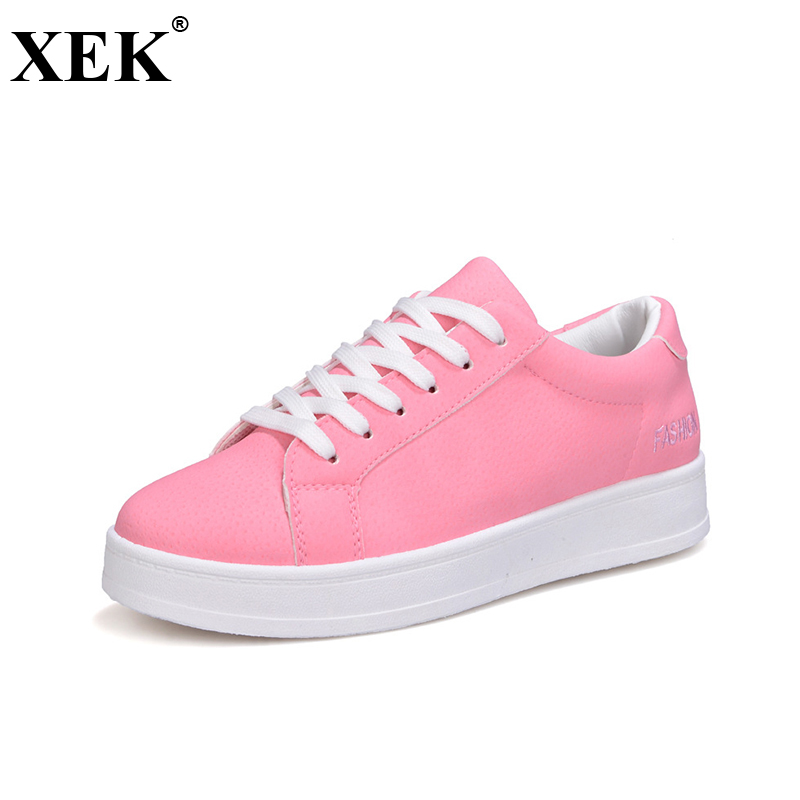XEK Breathable Woman Casual Shoes 2018 Lacing Flat Bottom Sneakers Women New Fashion Spring Summer Platform Shoes Women JH216