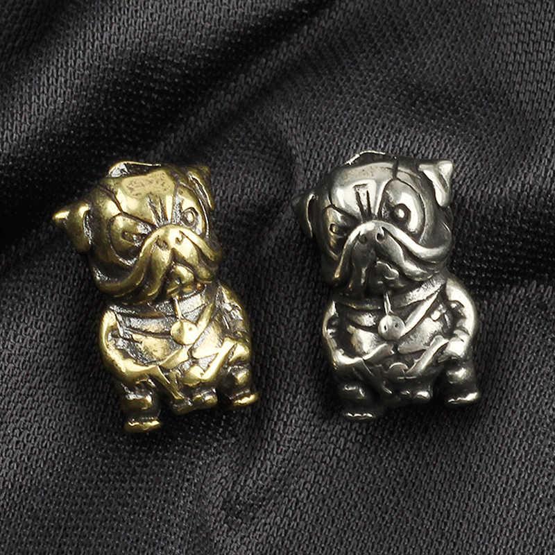EDC DIY dla małych psów nóż naszyjnik z koralików Vintage mosiądz miedziany koralik Paracord