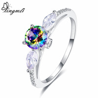 lingmei New Arrivals Round & Marquise Cut Multicolor & White Cubic Zircon Jewelry Silver Ring Size 6 7 8 9 For Women Christmas