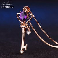 LAMOON 925 Sterling Silver Necklace Teardrop Amethyst Crown Key Pendant Necklace Rose Gold Color Chain Necklace