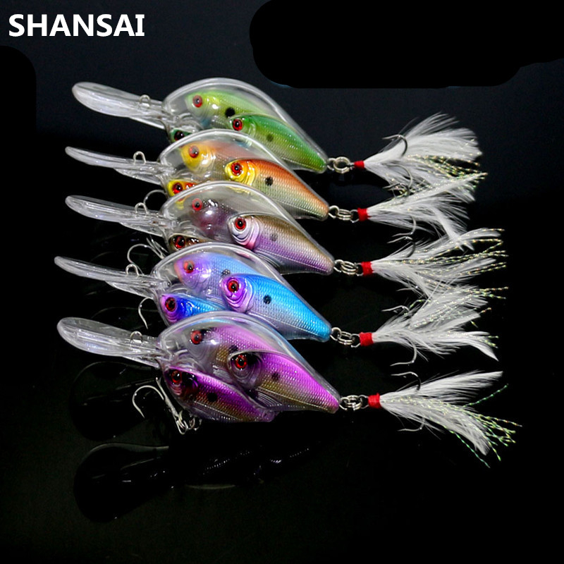 SHANSAI 9.7cm 17g 3D Eyes Upgraded Version Fish Crystal Feather Bionic Bait Fishing Lure Artificial Plastic Bait 4# Hooks