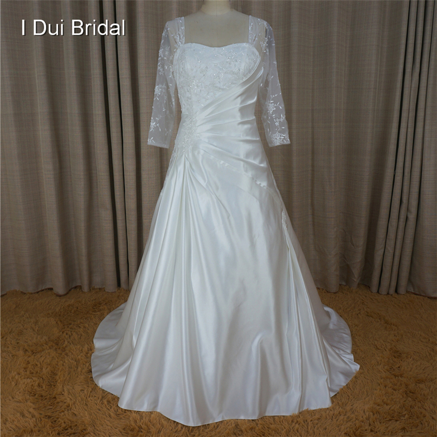 Buy three quarter sheer lace sleeve for 3 quarter sleeve wedding dress