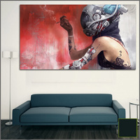 Large Size Printing Oil Painting Smoking Woman Robot Wall Art Canvas Print Pictures For Living Room
