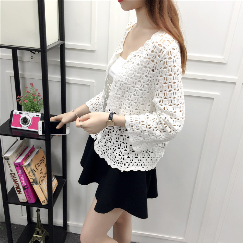Camisas Mujer 2017 Spring Summer Crochet White Lace Blouse Women Fashion Tops Sexy Hollow Out Knitted Cardigan Chemise Femme 14