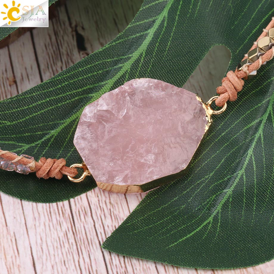 Clearance SaleBracelet Pink Jewelry Crystal Quartz CSJA Natural-Stone Women Beads Bohemia for Rose