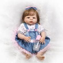 """NPK 23 """"todo el Cuerpo de Silicona Renacer Baby girl Doll Juguetes de fibra lisa pelo arraigado alive reborn bonecas bebe niños muñeco de regalo juguetes"""