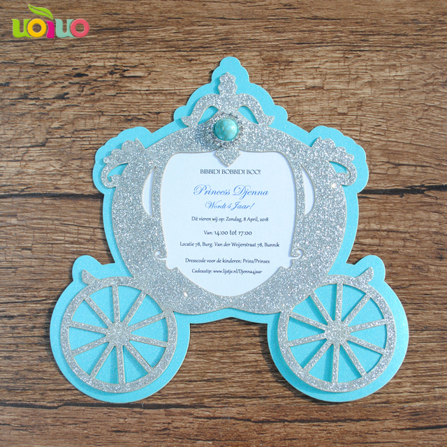 Lovely Laser Cut Simple Unique Carriage Baby Kid Birthday Invitation Cards Christening Custom Printing