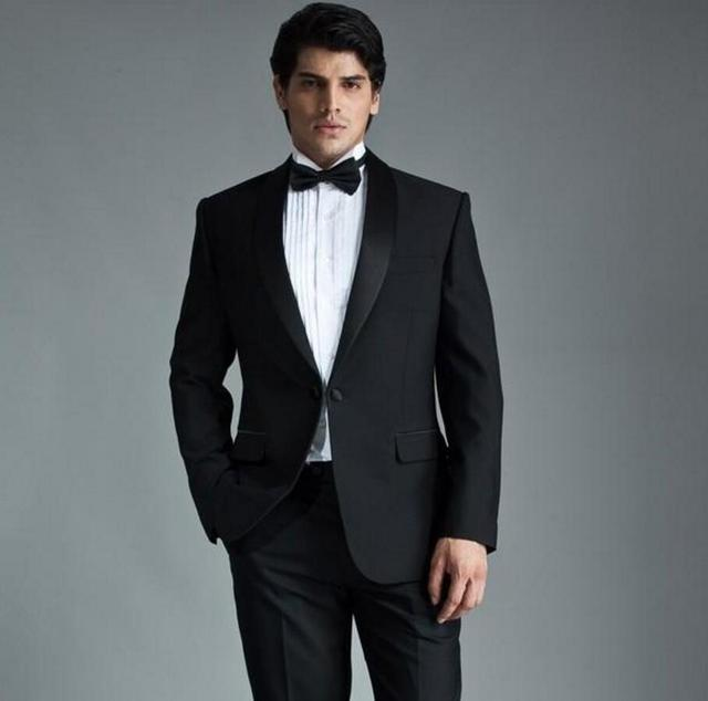 New Arrival Modern Black Men Suits For Wedding Shawl Lapel Grooms ...