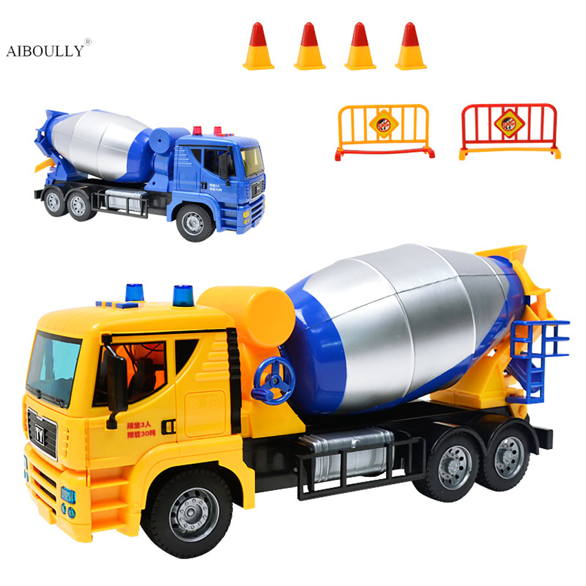 New 1/24 large Scale Truck Model Toys Cement Mixer Truck Toy with Lights and Sound New In Box For Gift/Kids все цены