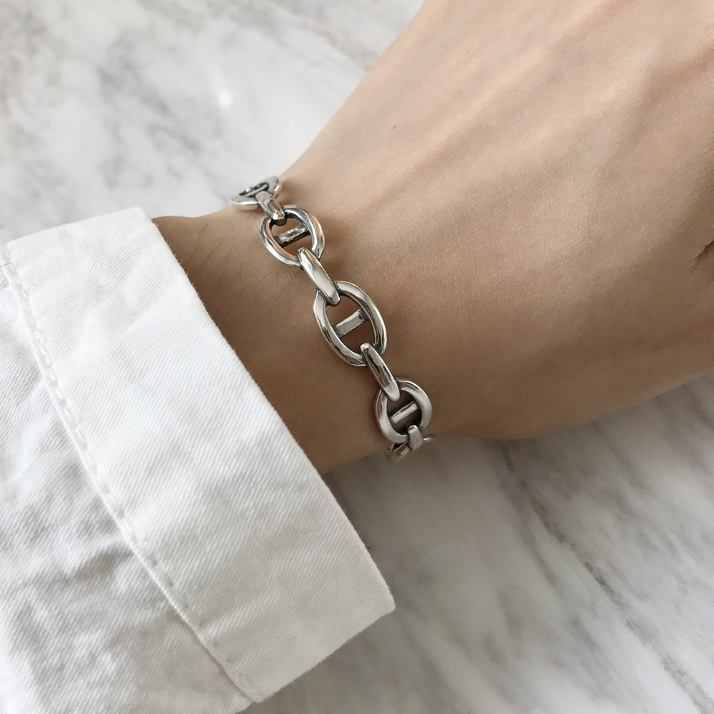 SHANICE Do The Old Authentic 925 Sterling Silver Jewelry Chinese Character Chain Simple Design  Bangles for Women bijoux femmeSHANICE Do The Old Authentic 925 Sterling Silver Jewelry Chinese Character Chain Simple Design  Bangles for Women bijoux femme
