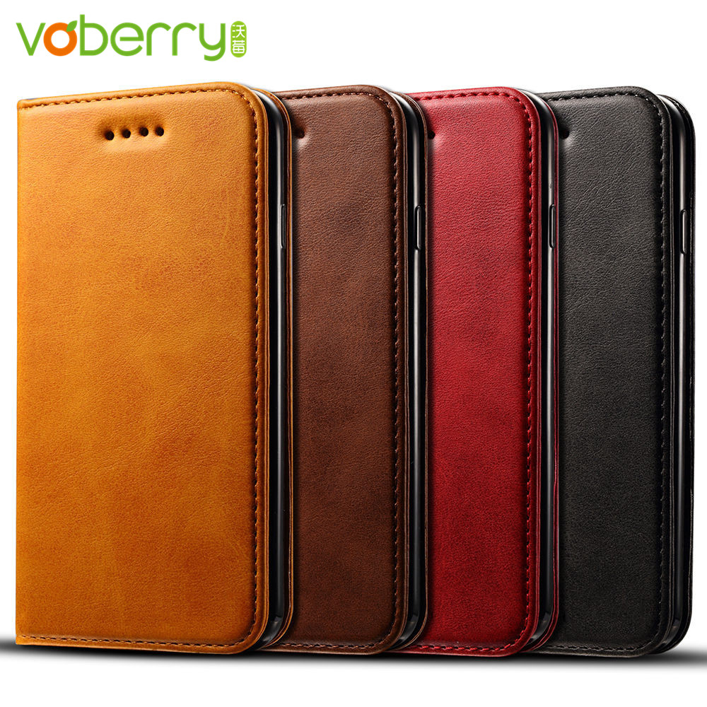 Voberry Luxury Case For iPhone 7 8 Plus Case Leather & Flip Luxury PU Leather Cover iPhone 7 8 Plus Case With Stand Coque