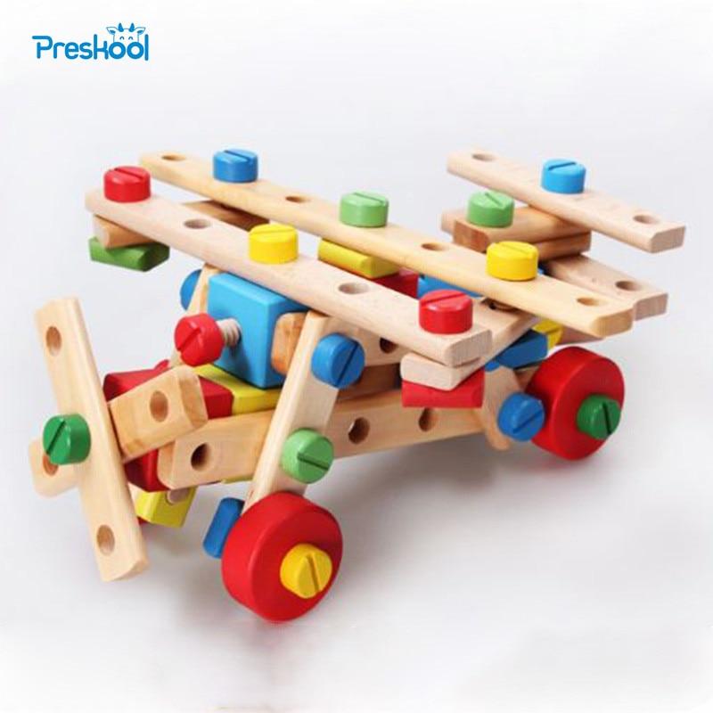 Montessori Baby Kids Toys Wooden Model Building Kits Nut-combination Learning Educational Preschool Training Brinquedos Juguets