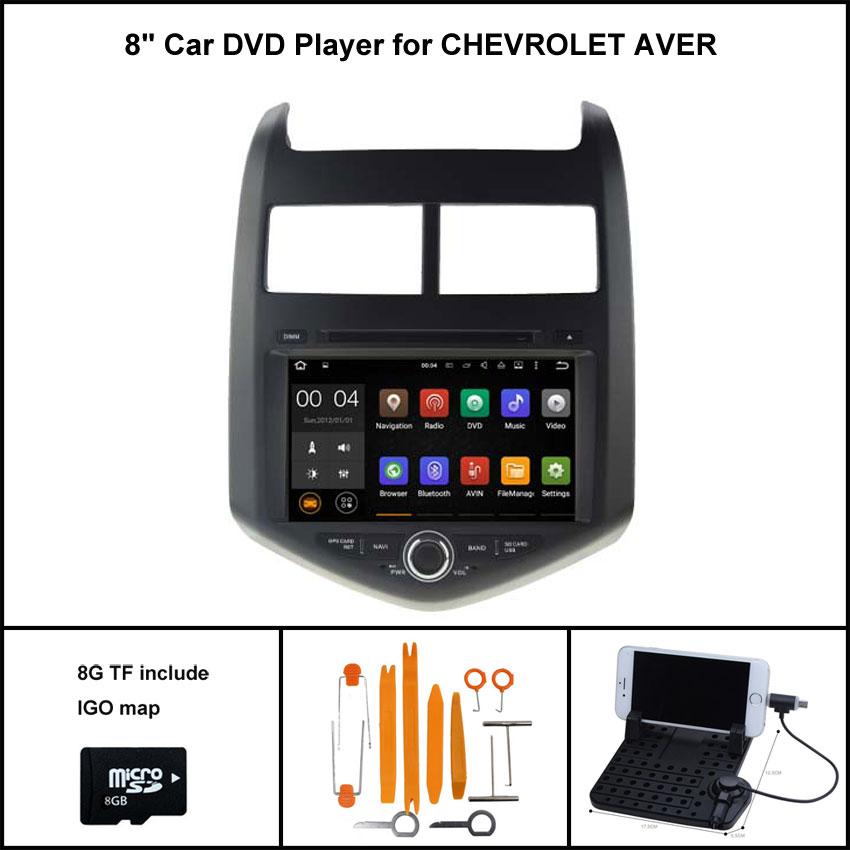 Android 7.1 4 ядра dvd-плеер автомобиля для Chevrolet Aveo 2012 GPS Sat Nav + 1024x600 HD экран WI-FI /3G + DSP + RDS + 16 ГБ flash