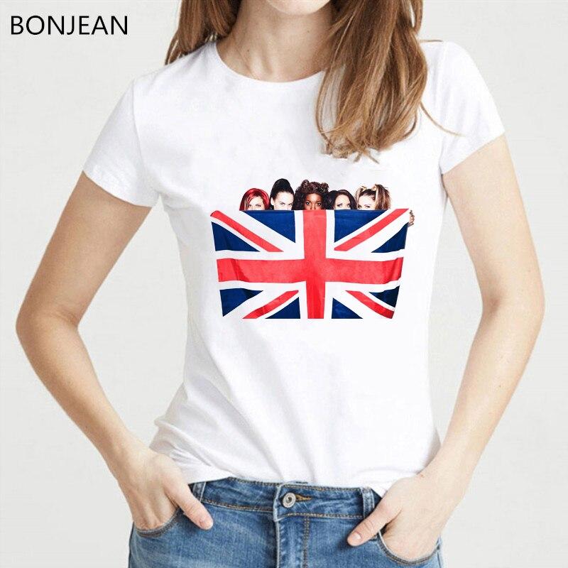 Spice girls with British flag graphic t shirt women Korean style clothes tshirt femme vogue white t-shirt female streetwear