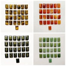 Ensemble de pierres naturelles Runes, symbole Viking, amulette nordique, ensemble de pierres, Divination, œil de tigre cornaline, Aventurine, obsidienne, 25 pièces