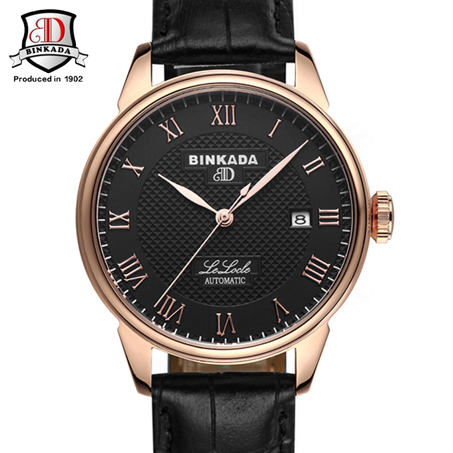 Фотография BINKADA  Automatic Self Wind Rose Gold Mechanical Watch Men Leather Strap Clock Male Fashion Luxury Wrist Watch Relogio