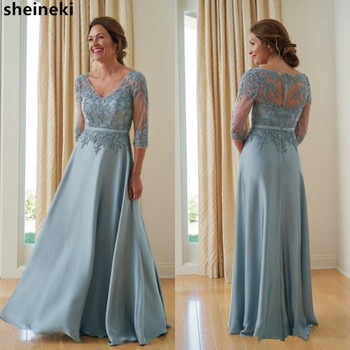 Cheap Satin V Neck Mother Of The Bride Dresses Lace Beads Applique Floor Length Plus Size Wedding Mothers Formal Evening Gowns