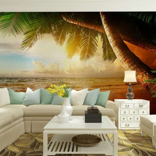 Home Office Decor Wall Papers 3d Living Room TV Wall Murals Tropical  Landscape Photo Wallpaper Good Ideas