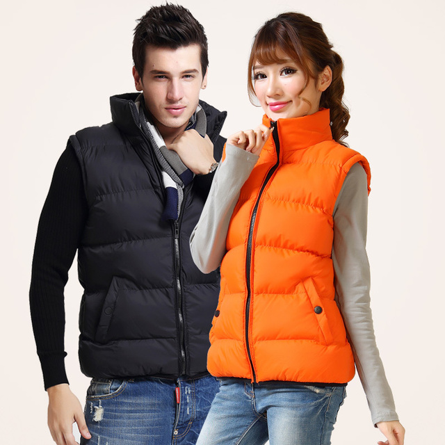 Lovers cotton vest men warm thickening waistcoat women cotton wadded stand up collar fashion casual vest waistcoat free shipping
