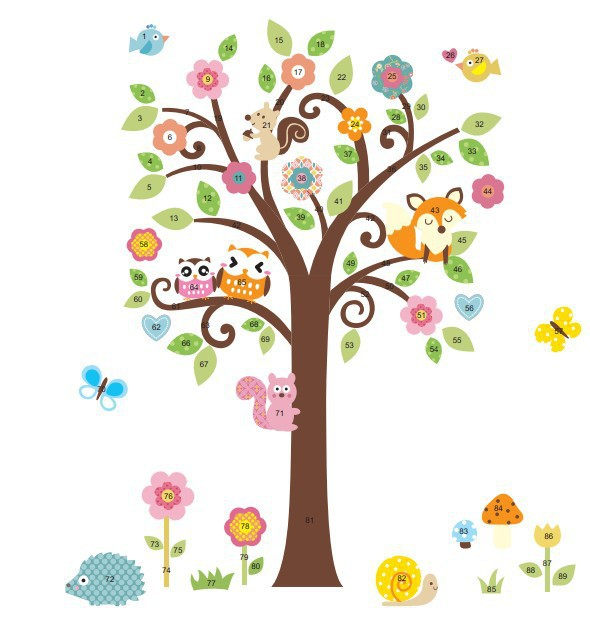 Zy1008 Cartoon Wall Decal Baby Room Decoration 3d Wall Mural Snail Fox Owl Flower Tree Butterfly