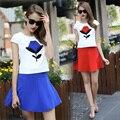 2016 de La Moda impresa flor de La Blusa + Mini Falda Más El Tamaño de las mujeres Traje Slim Ropa 2 unids/set Mujeres falda Y Top