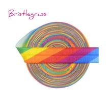 BRISTLEGRASS 5 Yard 5/8 15mm Rainbow Print Shiny Fold Over Elastics FOE Spandex Satin Bands Headband Dress Lace Trim DIY Sewing