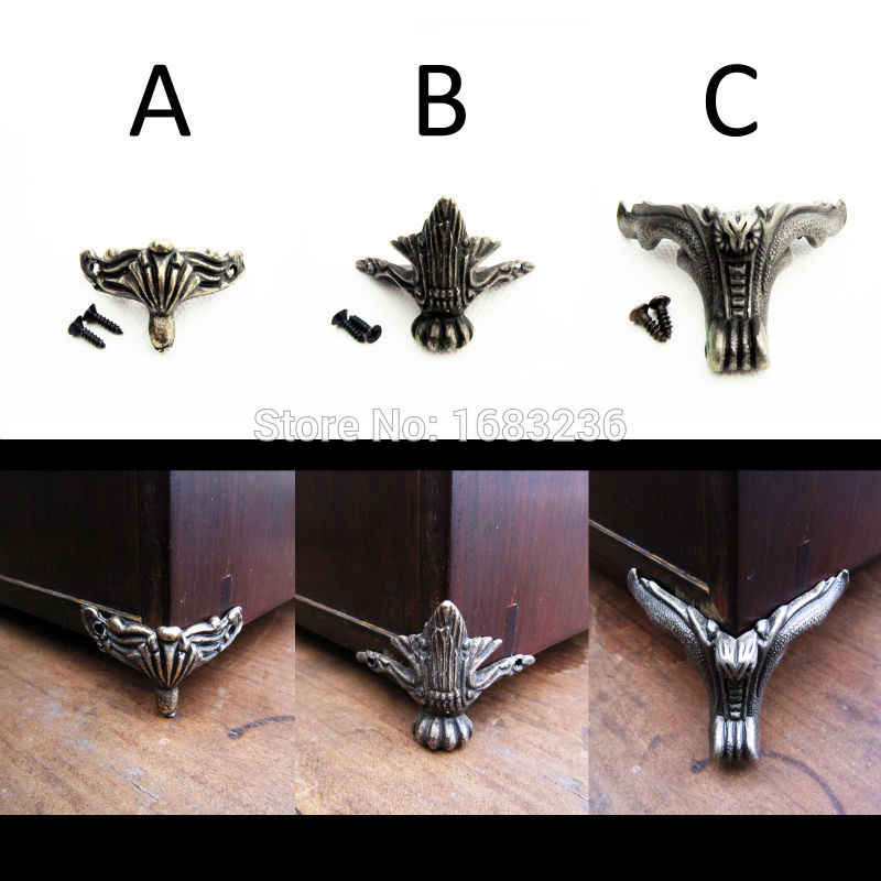 4pcs Antique Brass Vintage Bronze Jewelry Gift Box Wooden Case Decorative Feet Leg Metal Corner Protector With Screws
