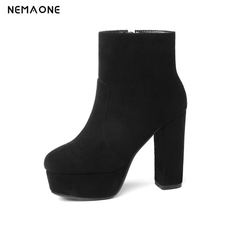 NEMAONE 2019 New Top Quality Flock Leather Boots Women High Heels Platform Ankle Boots For Women Round Toe Autumn Winter Shoes(China)