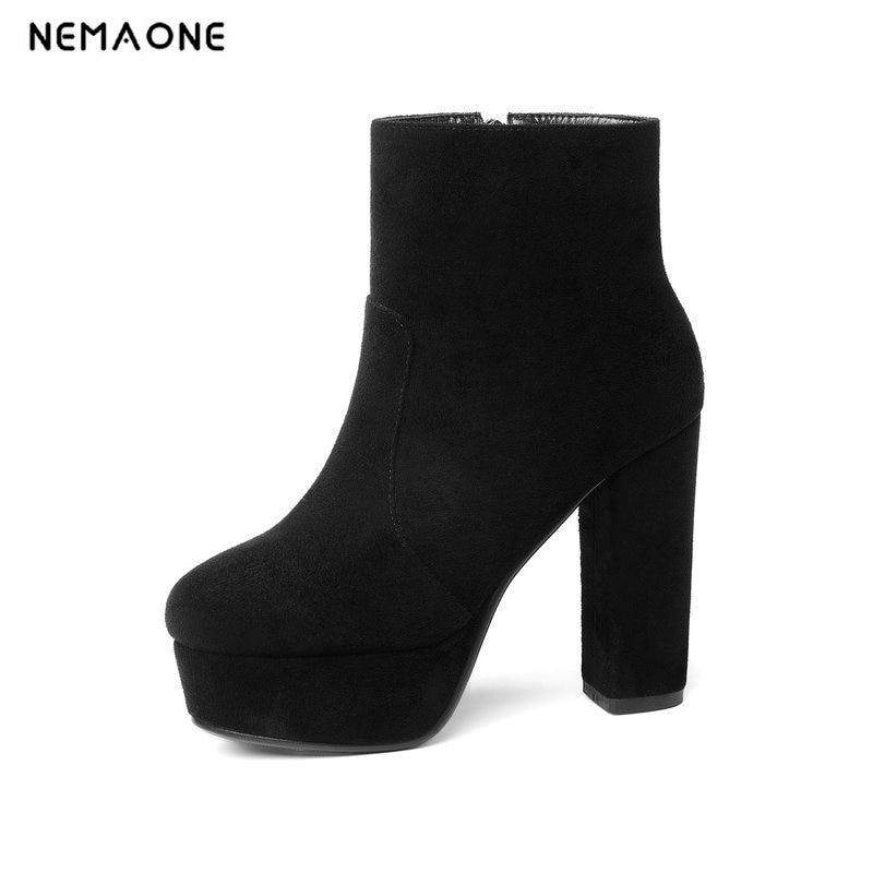 NEMAONE 2019 novo rebanho de alta qualidade botas de couro mulheres sapatos de salto alto botas do tornozelo da plataforma para mulheres dedo do pé redondo outono inverno sapatos