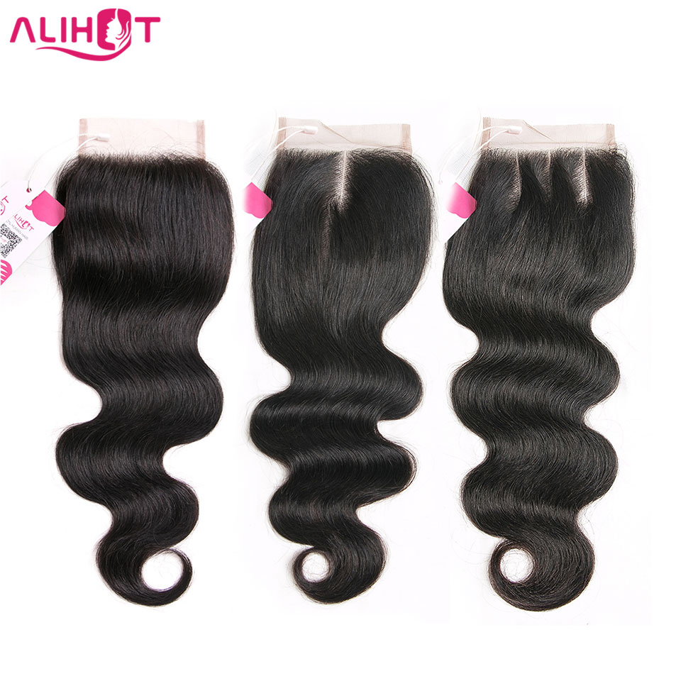 [ALI HOT] Brazilian Body Wave Free Part Snøre Closure 4 * 4inch Lace - Menneskehår (sort)