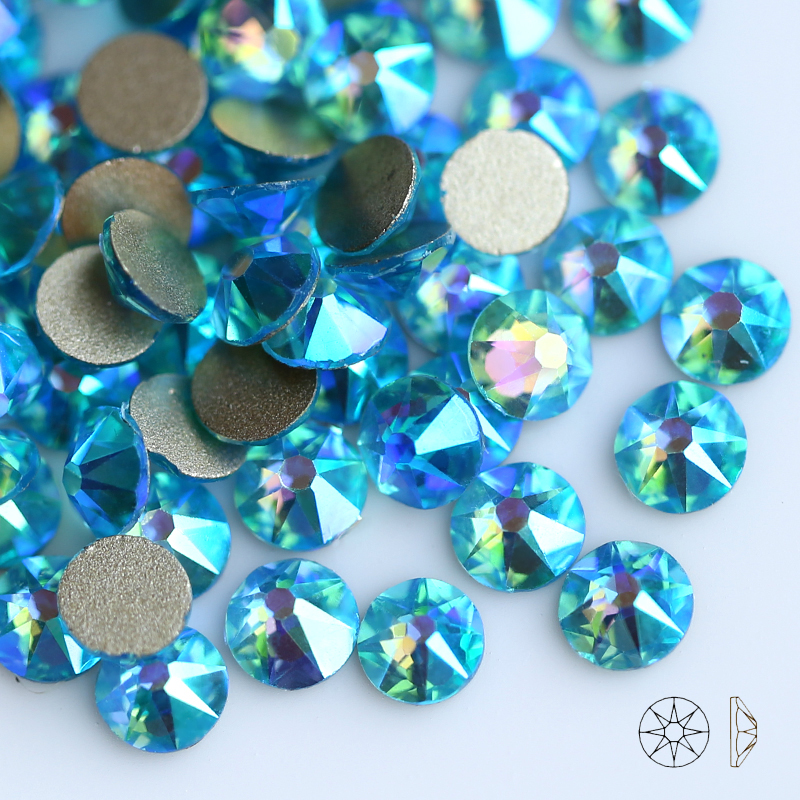 QIAO 2088 Cut Aquamarine AB Colors Strass Stone New Facted (8 big+8 small) SS16 SS20 Non hot-fix Rhinestones For clothing Gems