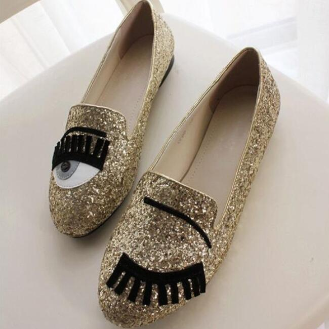 New 2016 women fashion big eye eyelash flat shoes lady brightly glitter loafer shoes Free Shipping