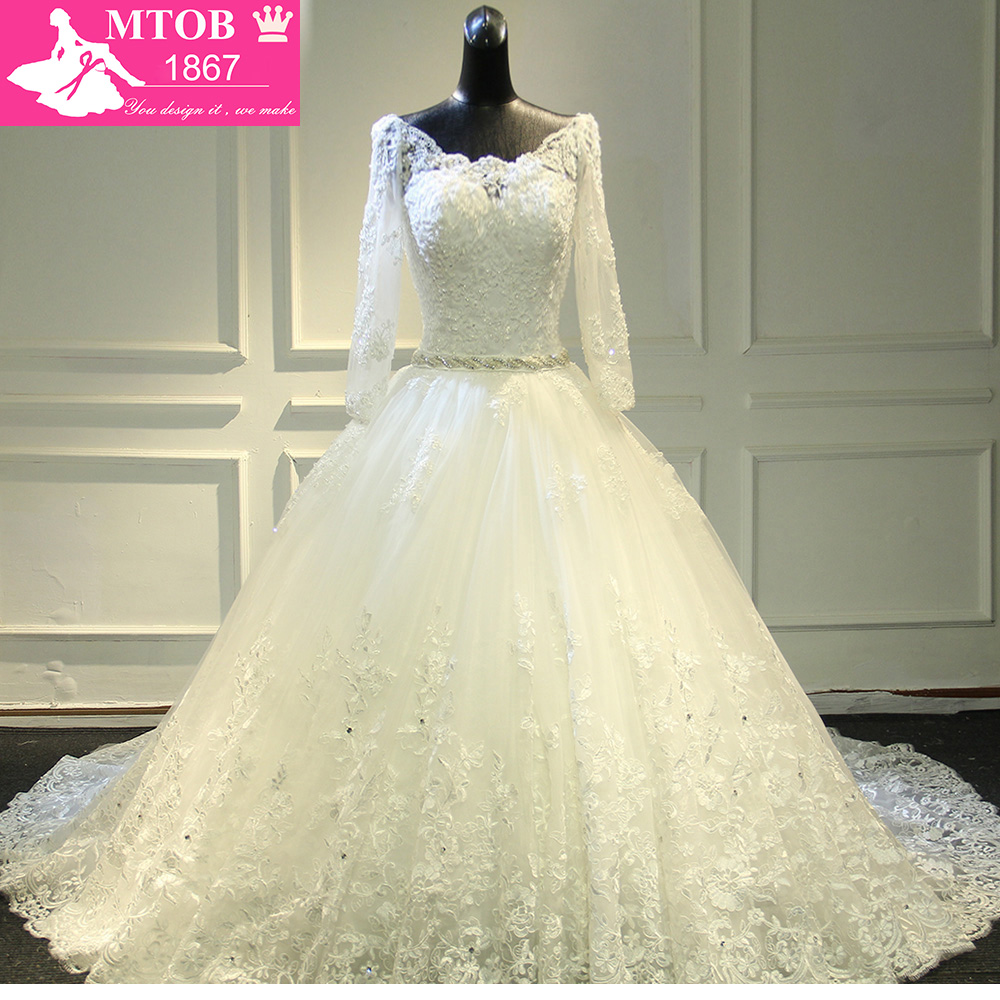 Gorgeous Long Cathedral Train Thick Lace Luxurious crystal Wedding Dresses Full Sleeves Robe De Mariage bride