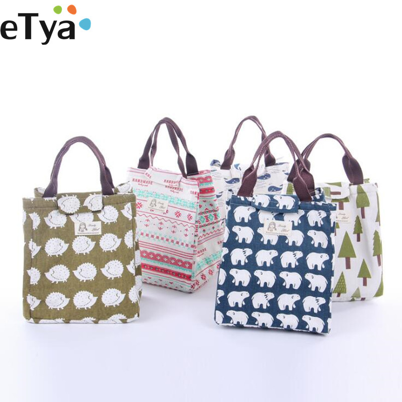 Fashion Canvas  Women Insulated lunch bag Bag Lunch box  Thermal Food Picnic Lunch Pouch for kids Cooler Storage Bag Bag сумка холодильник packit 0010 mini lunch bag