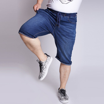 2019 Summer Men Extra Large Big Jeans Stretch Waist High Elastic Jeans Big Size Cowboy Shorts Size 32-50 Calf Length Pants 7XL