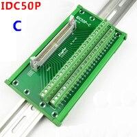 IDC50P Male socket to 50P terminal block breakout board adapter DIN Rail Mounting